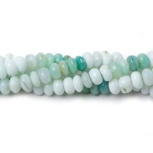 Shop Opal Rondelle Beads! Blue Peruvian Opal Rondelle Beads AA Grade, October Birthstone | Natural genuine rondelle Opal beads for beading and jewelry making.  #jewelry #beads #beadedjewelry #diyjewelry #jewelrymaking #beadstore #beading #affiliate #ad