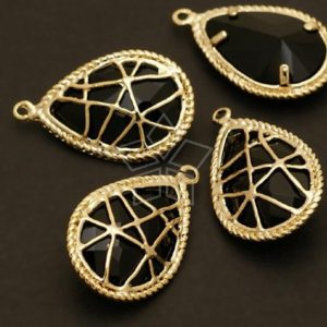 Shop Jet Jewelry! Pd-208-gd / 2 Pcs – Net Tear Drop (jet) Pendant, 16k Gold Plated Over Brass / 13mm X 22mm | Natural genuine Jet jewelry. Buy crystal jewelry, handmade handcrafted artisan jewelry for women.  Unique handmade gift ideas. #jewelry #beadedjewelry #beadedjewelry #gift #shopping #handmadejewelry #fashion #style #product #jewelry #affiliate #ad