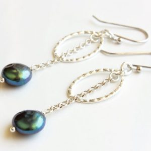 Shop Pearl Earrings! Peacock Pearls Earrings, Sterling Silver, Blue Green Gemstones, Dangle Chain, Boho Chic, June Birthstone, Unique Holiday Gift For Her, 4923 | Natural genuine Pearl earrings. Buy crystal jewelry, handmade handcrafted artisan jewelry for women.  Unique handmade gift ideas. #jewelry #beadedearrings #beadedjewelry #gift #shopping #handmadejewelry #fashion #style #product #earrings #affiliate #ad