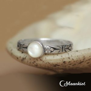 Shop Pearl Rings! Forget Me Not Ring, Sterling Silver Pearl Ring, Pearl Promise Ring, Pearl Stacking Ring | Moonkist Designs | Natural genuine Pearl rings, simple unique handcrafted gemstone rings. #rings #jewelry #shopping #gift #handmade #fashion #style #affiliate #ad