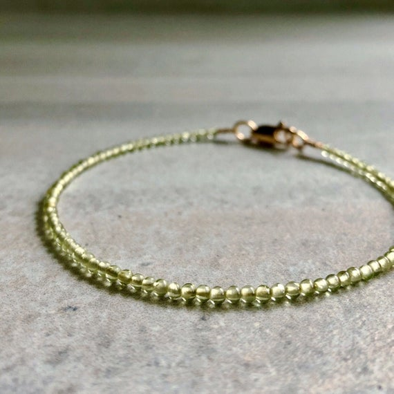 Gold Peridot Bracelet | Tiny Bead Bracelet For Women, Men | 5 6 7 8 9 Inch Size For Small Or Large Wrists | Natural Crystal Jewelry