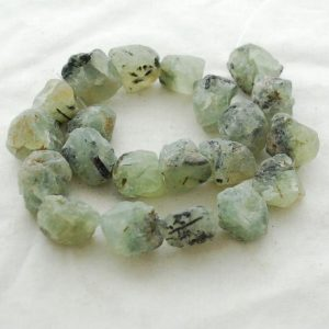 "Shop Prehnite Chip & Nugget Beads! Raw Natural Prehnite Semi-precious Gemstone Chunky Nugget Beads – approx 18mm – 22mm x 22mm – 25mm – approx 15"" strand 