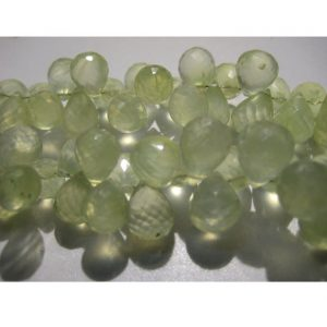 Shop Prehnite Bead Shapes! Prehnite Faceted Tear Drop Beads – 12x9mm To 10x7mm Each – Briolette Beads – Half Strand 4 Inches – 34 Pieces Approx | Natural genuine other-shape Prehnite beads for beading and jewelry making.  #jewelry #beads #beadedjewelry #diyjewelry #jewelrymaking #beadstore #beading #affiliate #ad