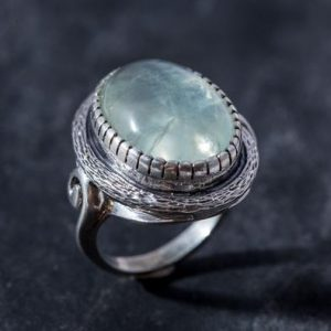 Shop Prehnite Rings! Large Prehnite Ring, Natural Prehnite, Statement Ring, May Birthstone, Vintage Ring, May Ring, Big Stone Ring, Solid Silver Ring, Prehnite   Natural genuine Prehnite rings, simple unique handcrafted gemstone rings. #rings #jewelry #shopping #gift #handmade #fashion #style #affiliate #ad