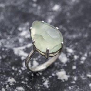 Shop Prehnite Rings! Prehnite Ring, Natural Prehnite, May Birthstone Ring, Teardrop Ring, Teardrop Prehnite, Healing Stones, Vintage Rings, Solid Silver Ring | Natural genuine Prehnite rings, simple unique handcrafted gemstone rings. #rings #jewelry #shopping #gift #handmade #fashion #style #affiliate #ad