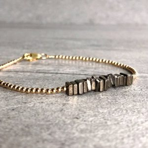 Shop Pyrite Bracelets! Tiny Gold Bead Bracelet | Natural Crystal Jewelry | Pyrite Square Bead Bracelet | Delicate Dainty Layering Jewelry | Natural genuine Pyrite bracelets. Buy crystal jewelry, handmade handcrafted artisan jewelry for women.  Unique handmade gift ideas. #jewelry #beadedbracelets #beadedjewelry #gift #shopping #handmadejewelry #fashion #style #product #bracelets #affiliate #ad