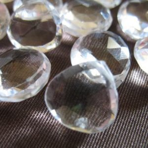 Shop Quartz Crystal Bead Shapes! Rock CRYSTAL Quartz Briolettes Heart, Luxe AAA, 7-8 mm, Rock Crystal, faceted.. brides bridal april 78 crc | Natural genuine other-shape Quartz beads for beading and jewelry making.  #jewelry #beads #beadedjewelry #diyjewelry #jewelrymaking #beadstore #beading #affiliate #ad