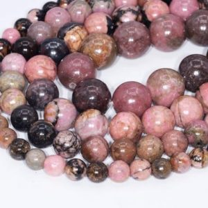 Rhodonite Beads Grade AAA Genuine Natural Gemstone Round Loose Beads 4MM 6MM 8MM 10MM Bulk Lot Options | Natural genuine round Rhodonite beads for beading and jewelry making.  #jewelry #beads #beadedjewelry #diyjewelry #jewelrymaking #beadstore #beading #affiliate #ad