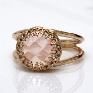 Rose Quartz Ring, rose Gold Ring, love Stone Ring, girlfriend Promise Ring, friendship Ring, love Ring, october Birthstone | Natural genuine Rose Quartz rings, simple unique handcrafted gemstone rings. #rings #jewelry #shopping #gift #handmade #fashion #style #affiliate #ad