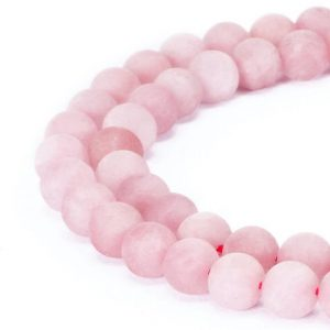 "Rose Quartz Matte Round Beads 4mm 6mm 8mm 10mm 12mm 15.5"" Strand 