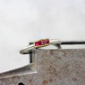 Shop Ruby Rings! Raw Red Ruby Stacking Ring Simple Silver 22k Yellow Gold Band Rough Rectangular Crystal Boho Gift Idea Her July Birthstone – Rubinstäbchen | Natural genuine Ruby rings, simple unique handcrafted gemstone rings. #rings #jewelry #shopping #gift #handmade #fashion #style #affiliate #ad