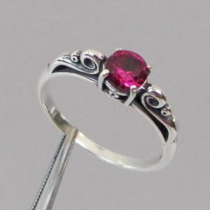 Shop Ruby Jewelry! Ruby Ring, Sterling Silver Scroll Ring,  5mm Lab Grown Ruby Gemstone, July Birthstone Gift | Natural genuine Ruby jewelry. Buy crystal jewelry, handmade handcrafted artisan jewelry for women.  Unique handmade gift ideas. #jewelry #beadedjewelry #beadedjewelry #gift #shopping #handmadejewelry #fashion #style #product #jewelry #affiliate #ad