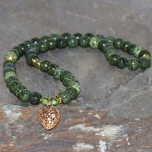Shop Serpentine Jewelry! Russian Serpentine 54 Mala 6mm Green Beads Bracelet Gold Plated Heart Bracelet Unisex Bracelet Gemstone Jewelry Yoga Bracelet Gift Bracelet | Natural genuine Serpentine jewelry. Buy crystal jewelry, handmade handcrafted artisan jewelry for women.  Unique handmade gift ideas. #jewelry #beadedjewelry #beadedjewelry #gift #shopping #handmadejewelry #fashion #style #product #jewelry #affiliate #ad