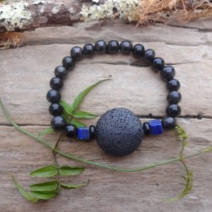 Extra Strong Protection Bracelet With Shungite Black Jet Stone Lava / Healing Stones Men Black Stone Bracelet For Every Day | Natural genuine Gemstone bracelets. Buy crystal jewelry, handmade handcrafted artisan jewelry for women.  Unique handmade gift ideas. #jewelry #beadedbracelets #beadedjewelry #gift #shopping #handmadejewelry #fashion #style #product #bracelets #affiliate #ad