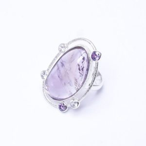 Shop Ametrine Rings! Silver ametrine ring oval ring with amethyst lavender beads engagement rings | Natural genuine Ametrine rings, simple unique alternative gemstone engagement rings. #rings #jewelry #bridal #wedding #jewelryaccessories #engagementrings #weddingideas #affiliate #ad