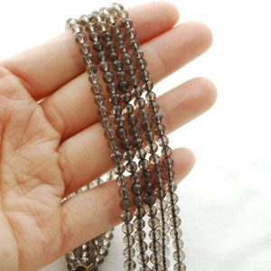 "Shop Smoky Quartz Faceted Beads! High Quality Grade A Natural Smoky Quartz Semi-precious Gemstone Faceted Round Beads – Approx 4mm – 15.5"" Long 