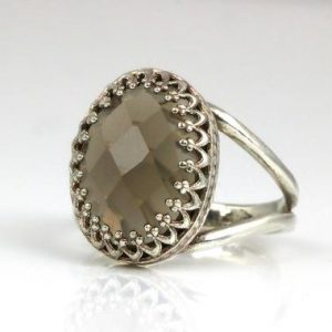 Shop Smoky Quartz Rings! Brown Gemstone Ring, smoky Quartz Ring, sterling Silver Ring, oval Stone Ring, faceted Gem Ring, brown Ring, silver Ring For Woman | Natural genuine Smoky Quartz rings, simple unique handcrafted gemstone rings. #rings #jewelry #shopping #gift #handmade #fashion #style #affiliate #ad