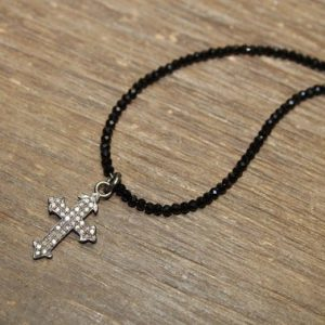 Shop Spinel Jewelry! Pave Diamond Cross Necklace, Black Spinel Stones, Diamond Cross Pendant, Sterling Silver, Genuine Diamond Jewelry | Natural genuine Spinel jewelry. Buy crystal jewelry, handmade handcrafted artisan jewelry for women.  Unique handmade gift ideas. #jewelry #beadedjewelry #beadedjewelry #gift #shopping #handmadejewelry #fashion #style #product #jewelry #affiliate #ad