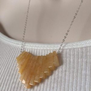 Shop Aragonite Necklaces! Sterling silver Yellow Aragonite  necklace. | Natural genuine Aragonite necklaces. Buy crystal jewelry, handmade handcrafted artisan jewelry for women.  Unique handmade gift ideas. #jewelry #beadednecklaces #beadedjewelry #gift #shopping #handmadejewelry #fashion #style #product #necklaces #affiliate #ad