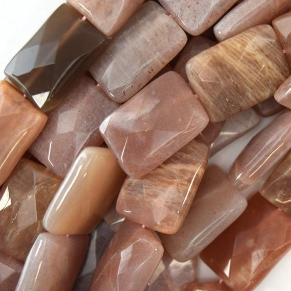 """25mm Faceted Sunstone Rectangle Beads 15"""" Strand 40386"""