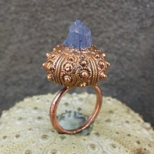 Shop Tanzanite Rings! Raw tanzanite copper electroformed sea urchin shell ring | Natural genuine Tanzanite rings, simple unique handcrafted gemstone rings. #rings #jewelry #shopping #gift #handmade #fashion #style #affiliate #ad