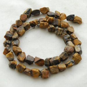 "Shop Tiger Eye Chip & Nugget Beads! Raw Natural Tiger Eye Semi-precious Gemstone Chunky Nugget Beads – approx 8mm – 10mm x 10mm – 12mm – approx 15"" strand 