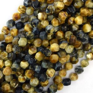 "Shop Tiger Eye Faceted Beads! 8mm star cut faceted gold blue tiger eye round beads 15.5"" strand diamond cut 41001 