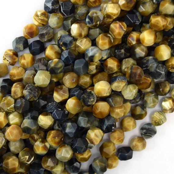 """8mm Star Cut Faceted Gold Blue Tiger Eye Round Beads 15.5"""" Strand Diamond Cut 41001"""