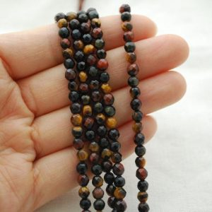 "Shop Tiger Eye Faceted Beads! High Quality Grade A Mutilcolour Tiger Eye Semi-precious Gemstone FACETED Round Beads – approx 4mm – 15.5"" long 
