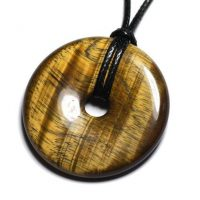 Stone – Donut Pi 40mm Tiger Eye Pendant Necklace | Natural genuine Gemstone jewelry. Buy crystal jewelry, handmade handcrafted artisan jewelry for women.  Unique handmade gift ideas. #jewelry #beadedjewelry #beadedjewelry #gift #shopping #handmadejewelry #fashion #style #product #jewelry #affiliate #ad