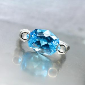 Shop Topaz Rings! Modern Fancy Cut Blue Topaz Silver Ring Unique Architectural Statement Bright Neon Floating Gemstone Design November Birthstone – Electric | Natural genuine Topaz rings, simple unique handcrafted gemstone rings. #rings #jewelry #shopping #gift #handmade #fashion #style #affiliate #ad