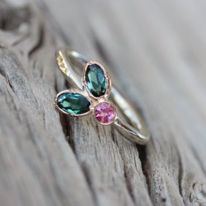 Floral Teal Pink Tourmaline Engagement Ring 14K Tri Gold Rose Yellow White Woodland Boho Bridal Romantic Flower Leaf Bloom – Triple Blossom | Natural genuine Tourmaline rings, simple unique alternative gemstone engagement rings. #rings #jewelry #bridal #wedding #jewelryaccessories #engagementrings #weddingideas #affiliate #ad