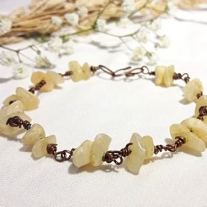 Shop Aragonite Bracelets! Wire-wrapped copper and aragonite bracelet | Natural genuine Aragonite bracelets. Buy crystal jewelry, handmade handcrafted artisan jewelry for women.  Unique handmade gift ideas. #jewelry #beadedbracelets #beadedjewelry #gift #shopping #handmadejewelry #fashion #style #product #bracelets #affiliate #ad