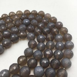 """Shop Agate Faceted Beads! Beautiful Faceted Grey Agate Round Loose Beads Sizes 4mm / 6mm / 8mm / 10mm / 12mm Approx 15.5"""" Strand 