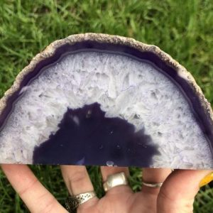 """Shop Raw & Rough Agate Stones! 5.1"""" Purple Agate Geode End Cut / Dyed Polished Standing #2 