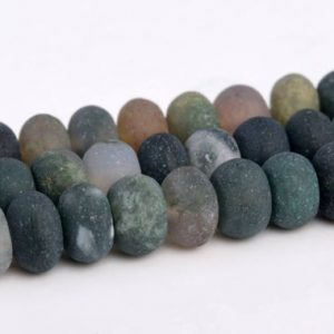 "Shop Agate Rondelle Beads! 6x4MM Matte Indian Agate Beads Grade AAA Genuine Natural Gemstone Rondelle Loose Beads 15"" / 7.5"" Bulk Lot Options (103311) 