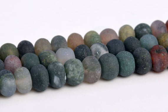 "6x4mm Matte Indian Agate Beads Grade Aaa Genuine Natural Gemstone Rondelle Loose Beads 15"" / 7.5"" Bulk Lot Options (103311)"