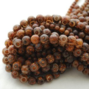 "Shop Agate Round Beads! High Quality Grade A Tibetan Agate (dyed) Semi-precious Gemstone Round Beads – 6mm, 8mm, 10mm sizes – Approx 15.5"" strand 