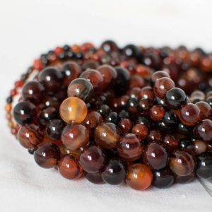 "Shop Agate Round Beads! High Quality Grade A Sardonyx Agate (orange, black) Semi-precious Gemstone Round Beads – 4mm, 6mm, 8mm, 10mm sizes – 15.5"" strand 