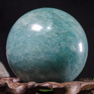 "Shop Tumbled Amazonite Crystals & Pocket Stones! 2.08""Large Natural Amazonite Sphere/Tumbled Amazonite Ball/Green rock Sphere/Hand Carved Gemstone Sphere/Crystal Healing/Gift-53mm 216g#8780 