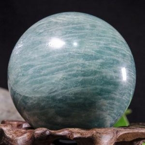 "Shop Tumbled Amazonite Crystals & Pocket Stones! 2""Large Natural Amazonite Sphere/Tumbled Amazonite Ball/Green rock Sphere/Hand Carved Gemstone Sphere/Crystal Healing/Gift-51mm 216g #8783 