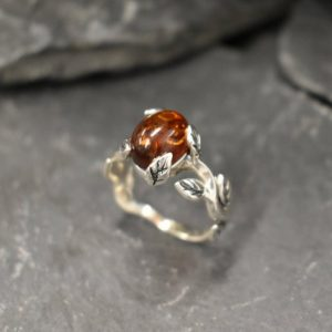 Amber Ring, Natural Amber, Taurus Birthstone, Silver Leaf Ring, Vintage Ring, Yellow Amber Ring, Leaf Ring, Floral Ring, Solid Silver Ring | Natural genuine Amber rings, simple unique handcrafted gemstone rings. #rings #jewelry #shopping #gift #handmade #fashion #style #affiliate #ad