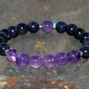 Shop Amethyst Bracelets! Amethyst & Dumortierite Bracelet, Yoga Mala Beads, Healing Chakra Crystals Gift, Mantra Meditation Bracelet, Spirituality-Protection-Healing | Natural genuine Amethyst bracelets. Buy crystal jewelry, handmade handcrafted artisan jewelry for women.  Unique handmade gift ideas. #jewelry #beadedbracelets #beadedjewelry #gift #shopping #handmadejewelry #fashion #style #product #bracelets #affiliate #ad