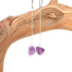 Silver amethyst earrings – amethyst drop earrings – silver chain earrings – dangle earrings – AMR1 | Natural genuine Gemstone earrings. Buy crystal jewelry, handmade handcrafted artisan jewelry for women.  Unique handmade gift ideas. #jewelry #beadedearrings #beadedjewelry #gift #shopping #handmadejewelry #fashion #style #product #earrings #affiliate #ad