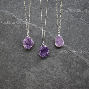 Shop Amethyst Jewelry! Silver Amethyst Necklace / Druzy Necklace / Amethyst Necklace / Amethyst Jewelry / Raw Amethyst Necklace | Natural genuine Amethyst jewelry. Buy crystal jewelry, handmade handcrafted artisan jewelry for women.  Unique handmade gift ideas. #jewelry #beadedjewelry #beadedjewelry #gift #shopping #handmadejewelry #fashion #style #product #jewelry #affiliate #ad