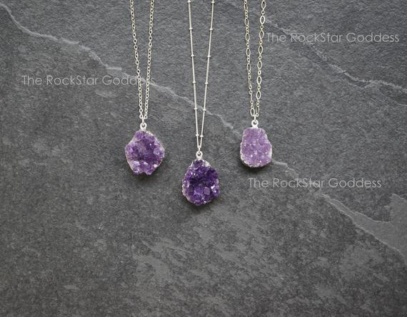 Silver Amethyst Necklace / Druzy Necklace / Amethyst Necklace / Amethyst Jewelry / Raw Amethyst Necklace / Mothers Day Gift
