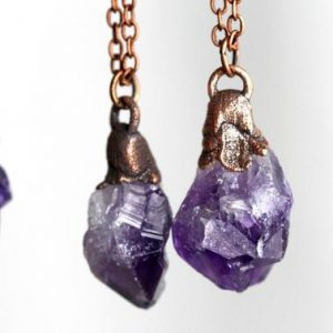 Shop Amethyst Pendants! Amethyst Pendant – Raw Crystal Necklace – February Birthstone – Gift for Aquarius | Natural genuine Amethyst pendants. Buy crystal jewelry, handmade handcrafted artisan jewelry for women.  Unique handmade gift ideas. #jewelry #beadedpendants #beadedjewelry #gift #shopping #handmadejewelry #fashion #style #product #pendants #affiliate #ad