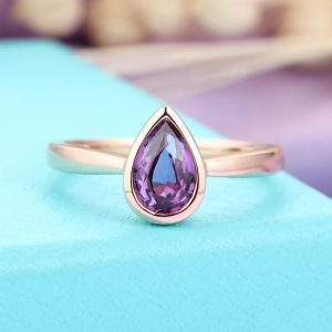 Amethyst Engagement Ring Rose Gold Women, solitaire Wedding Ring, unique Pear Shaped Jewelry, anniversary Gift For Her, valentines Day Bezel Set | Natural genuine Array rings, simple unique alternative gemstone engagement rings. #rings #jewelry #bridal #wedding #jewelryaccessories #engagementrings #weddingideas #affiliate #ad