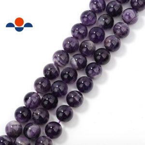 "Teeth Amethyst Smooth Round Beads 4mm 6mm 8mm 10mm 12mm 15.5"" Strand 