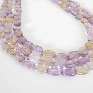 "Shop Ametrine Bead Shapes! Ametrine Flat Oval Beads, Amethyst Beads, Citrine Beads, 14"" Full Strand 8mm Oval Beads, Lilac Amethyst, Lemon Yellow Citrine, Ametrine201 